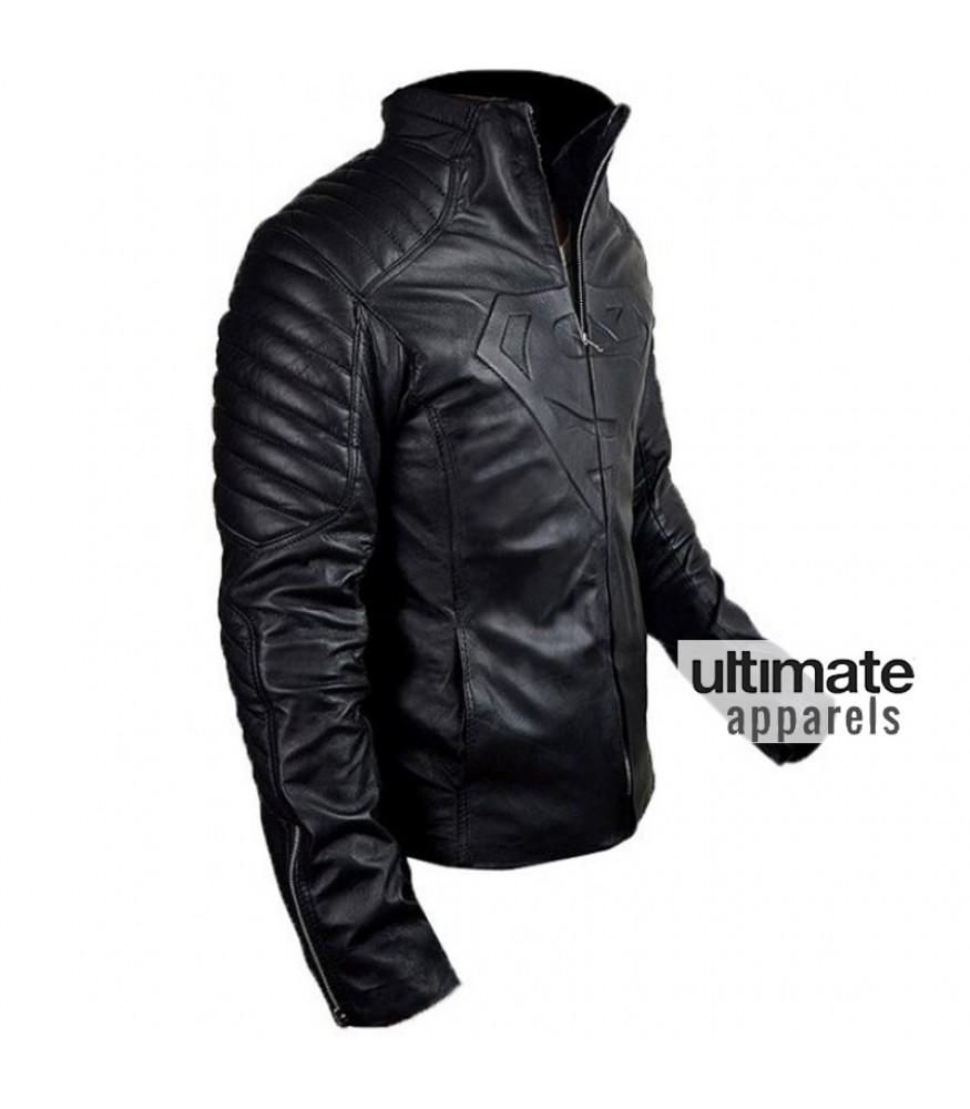 Men/'s Superman Movie Fan Smallville Man of Steel Black Designer Leather Jacket