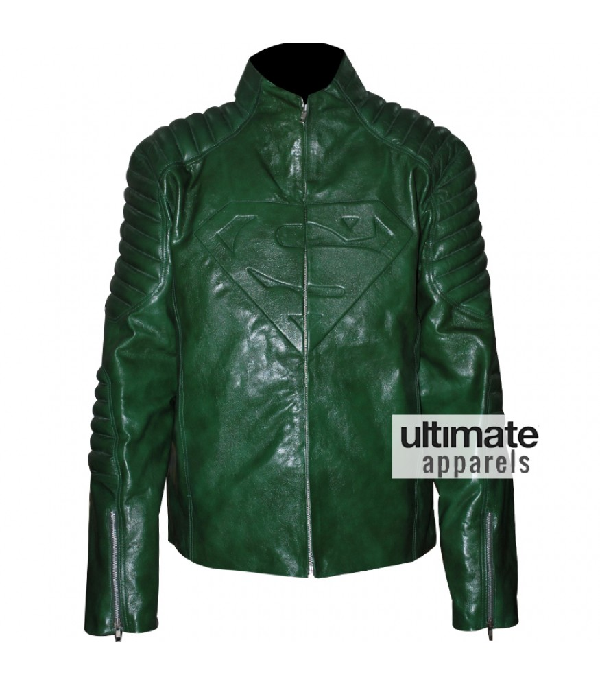 Superman Smallville Men's Green Leather Jacket