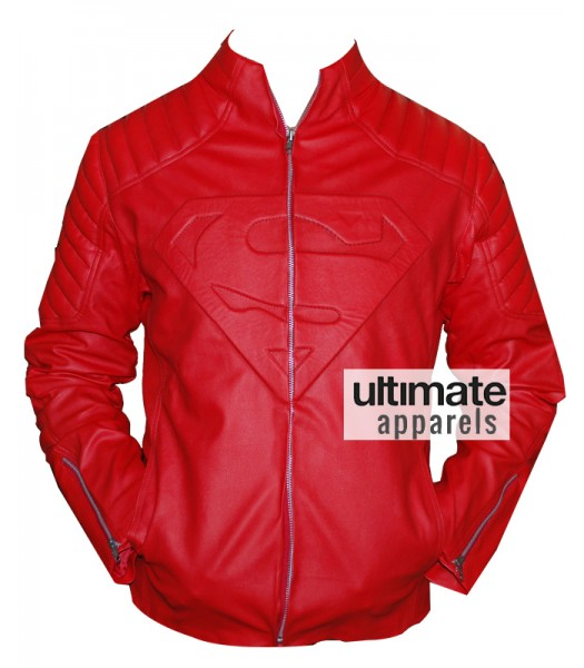 Superman Smallville Red Leather Jacket With Embossed