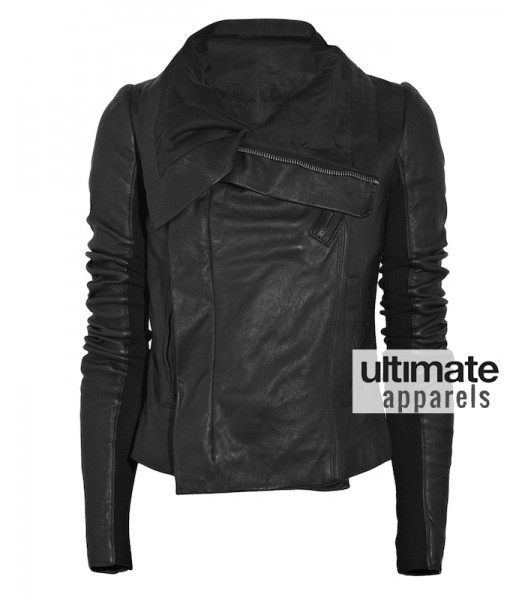 Designer's Taylor Swift Rick Owens Black Leather Jacket