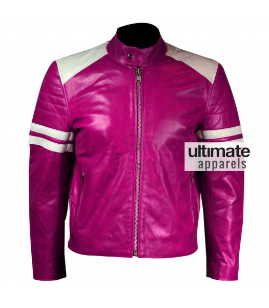 Designers Women Pink Leather Motorcycle Jacket