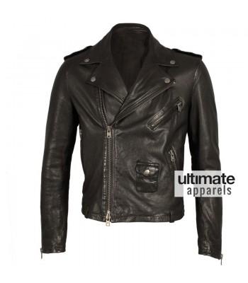 Alexander Mcqueen Mcq Black Biker Leather Jacket