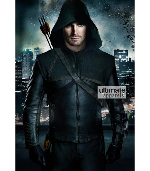 Arrow Oliver Queen (Stephen Amell) Green Hooded Costume Jacket