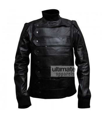 Winter Soldier Bucky (Sebastian Stan) Black Leather Jacket