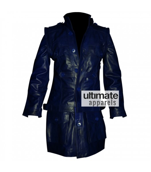 Heavy Men's Navy Blue Long Real Leather Coat