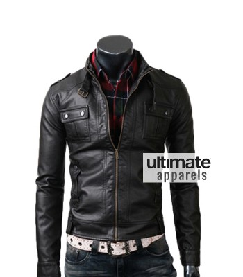 Slim Fit Men's Strap Pocket Real Black Leather Jacket