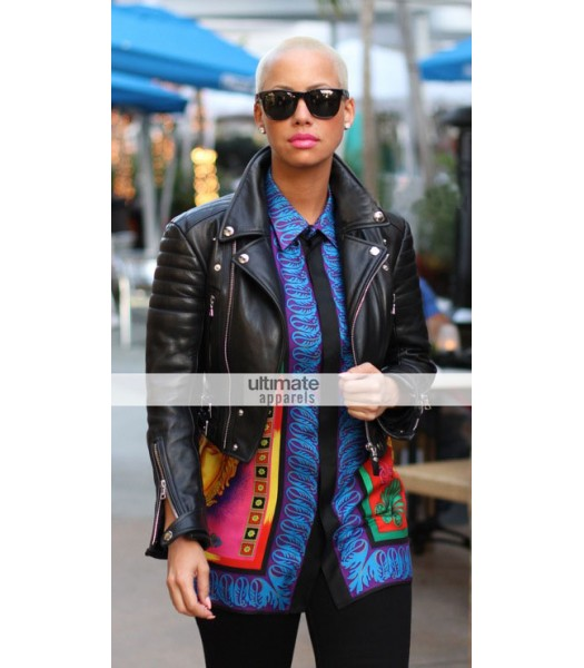 American Model Amber Rose Black Bomber Jacket