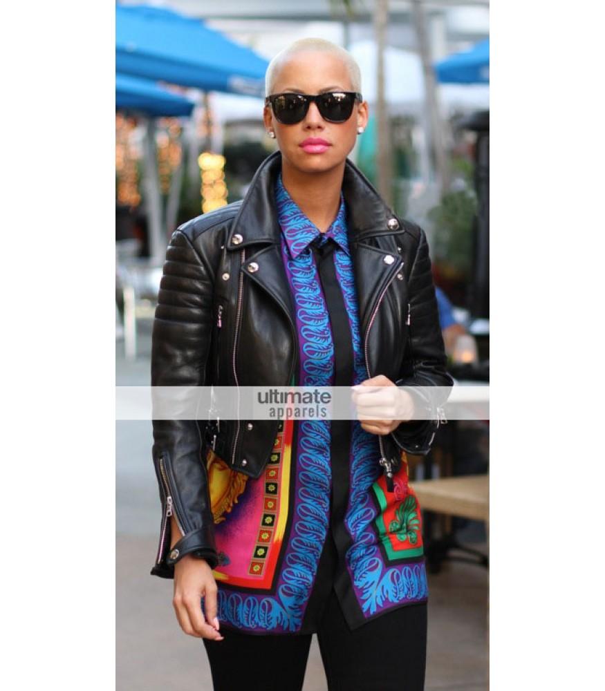 American Model Amber Rose Black Biker Jacket