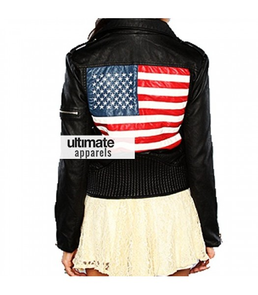 American Flag Women Black Biker Jacket For Sale