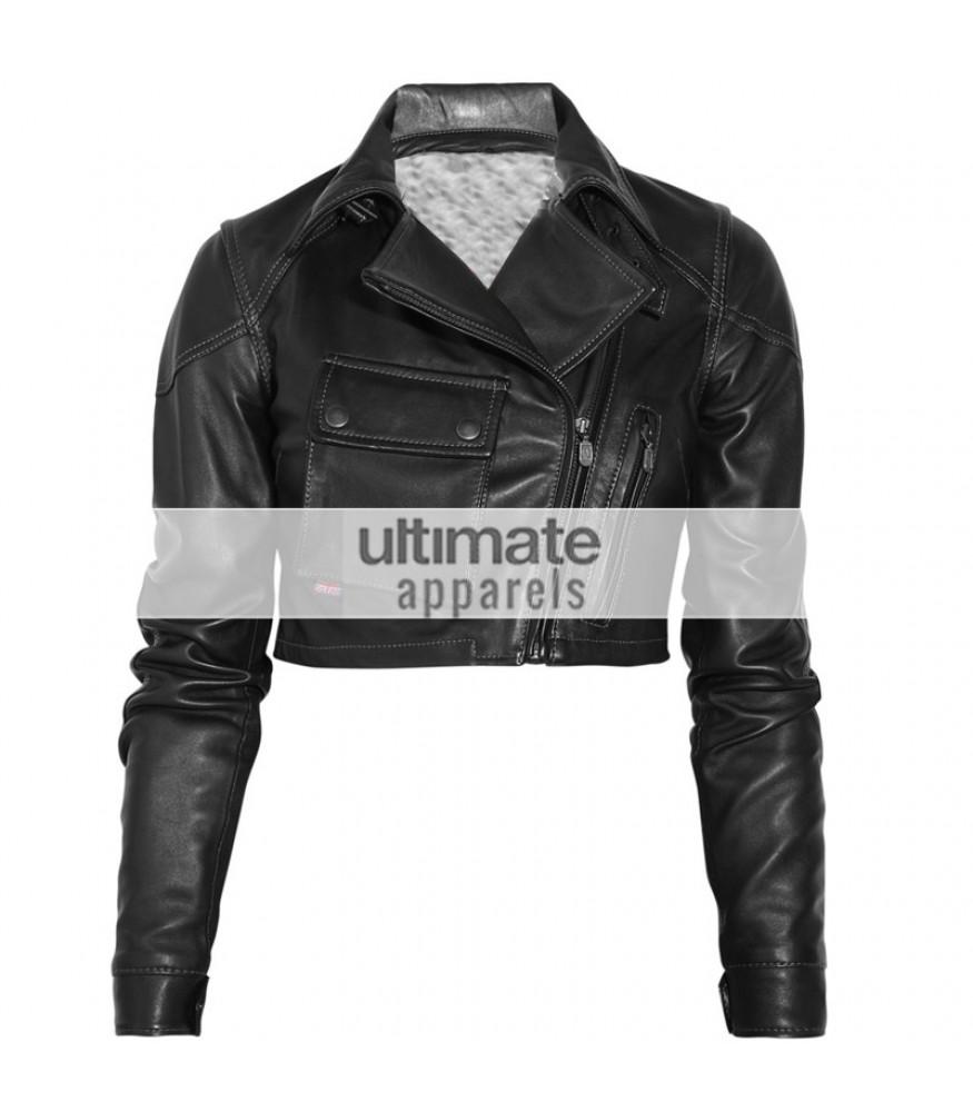 Short leather jacket for women