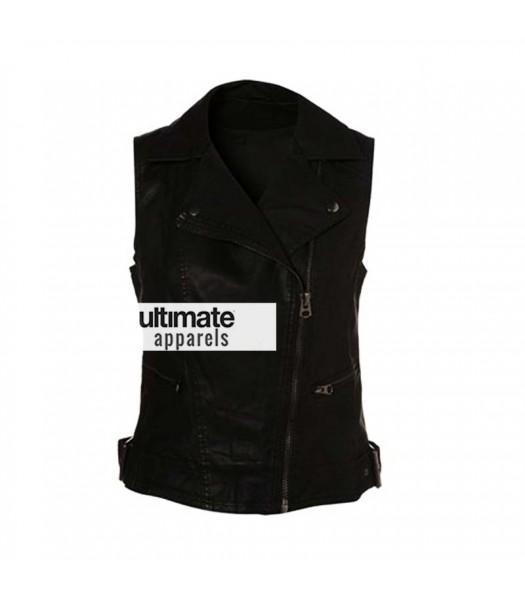 Demi Lovato Black Leather Vest at X-Factor