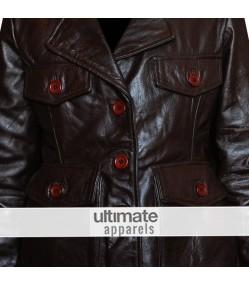 Ladies Dark Brown Motorcycle Leather Blazer Jacket
