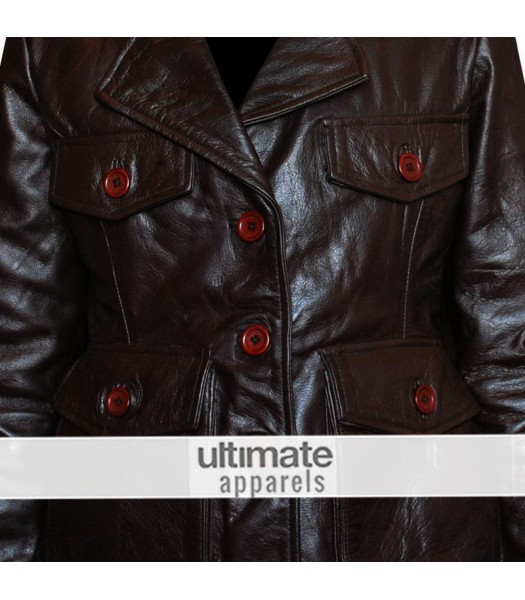 Ladies Dark Brown Motorcycle Leather Blazer Jacket