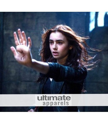Mortal Instruments Lily Collins (Clary Fray) Black Jacket