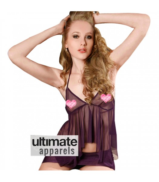 Baby Doll Purple Erotic Lingerie Nighty Dress For Ladies