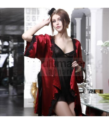 Black and Maroon Baby Doll Nightgown For Honeymoon