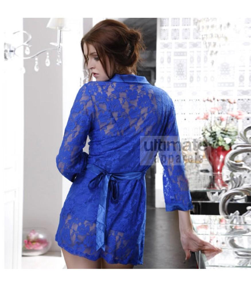 556f759e19 Women Erotic Bridal Long Blue Babydoll Nightgown