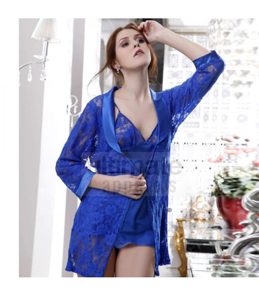 Women Erotic Bridal Long Blue Babydoll Nightgown