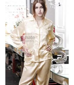 Ladies Silk Bridal Night Suit with Trouser and Shirt