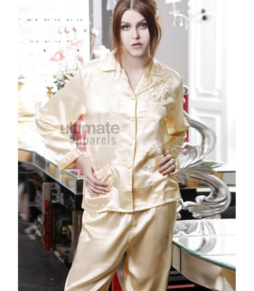 Ladies Silk Bridal Night Suit with Trouser and Shirt 4b520cbc30