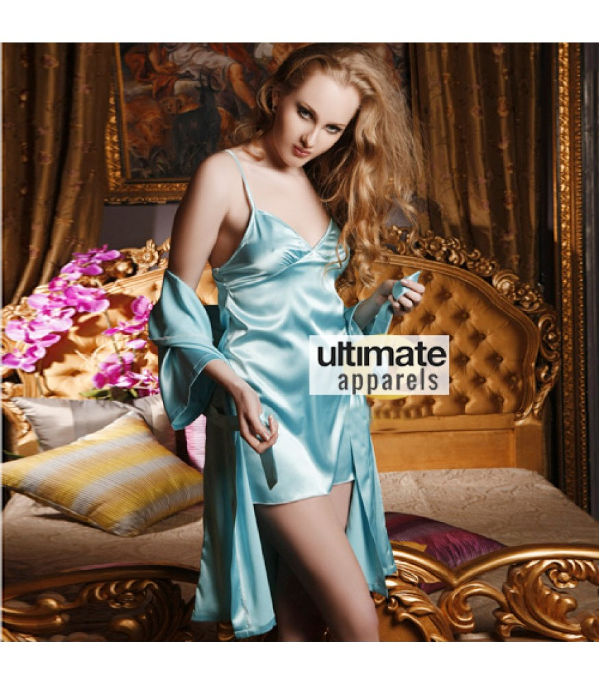 Women Sky Blue Erotic Silk Nightgown Nighty Dress