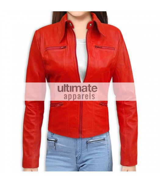 Emma Swan Red Leather Jacket In Once Upon A Time