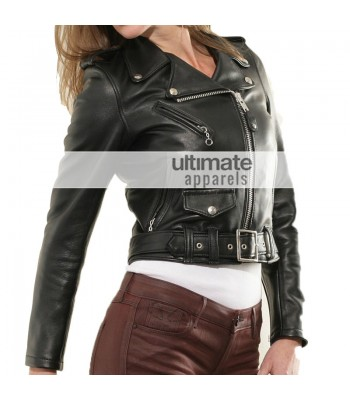 Perfecto Ladies Short Body Slim-Fit Black Motorcycle Jacket