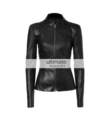 Slim Fit Women Black Rivet Motorcycle Leather Jacket