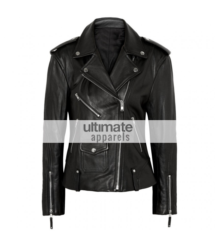 Theory Dalayan Women Black Leather Moto Jacket