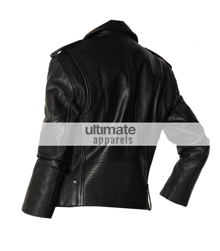 Theory Dalayan Women Black Leather Moto Jacket