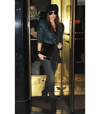 Victoria Beckham Marc-Jacob Women Green Leather Jacket