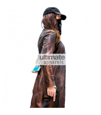 Watch Dogs Women Distressed Brown Long Blazer Coat