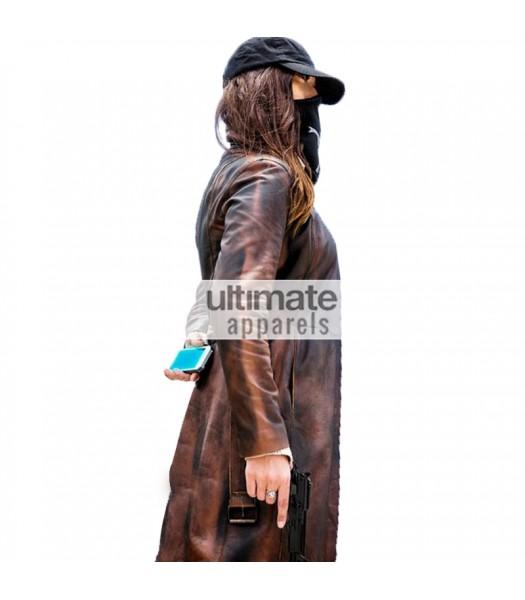 Watch Dogs Women Distressed Brown Long Blazer Coat
