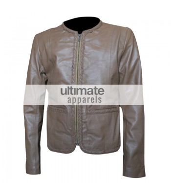 Women Slim-Fit Stylish Biker Grey Leather Jacket