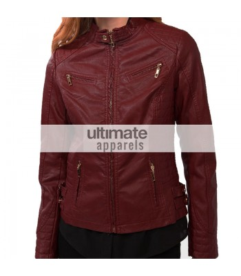 Ladies Burgundy Forever 21 Quilted Bomber Biker Jacket