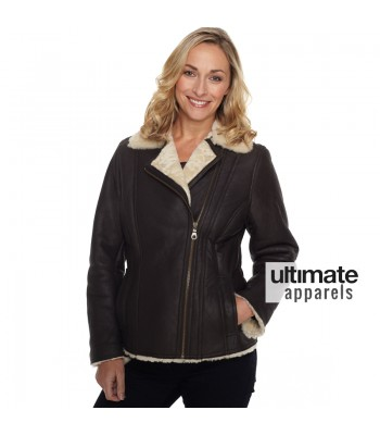 Women Shearling Winter Flying Fur Black Jacket