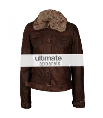 Women's Dark Brown Leather Jacket With Fur Collar