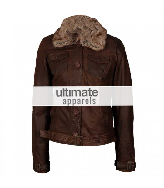 Women's Dark Brown Leather Jacket With Fur Collar