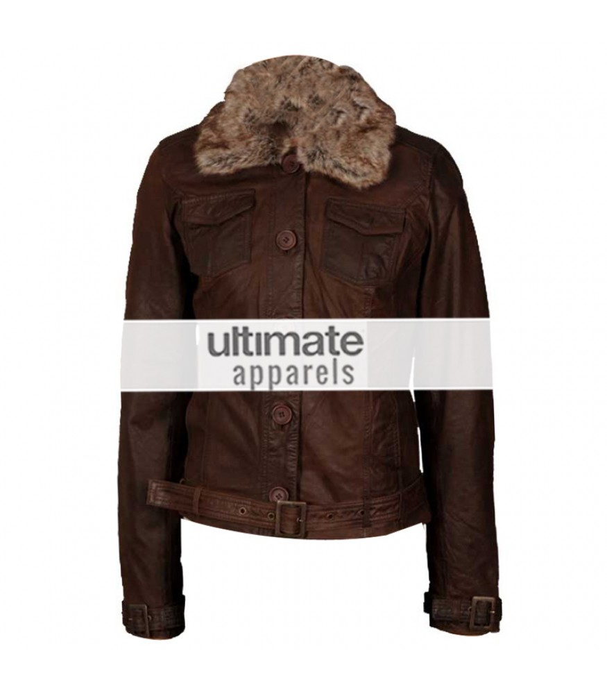 Womens leather jacket with fur collar