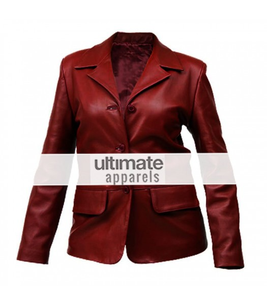 Women Dark Red Fitted Leather Blazer Short Coat