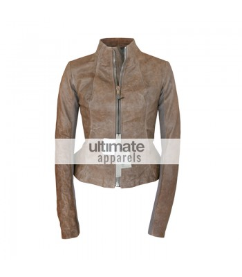 Rick Owens Style Women's Distressed Brown Motorcycle Jacket