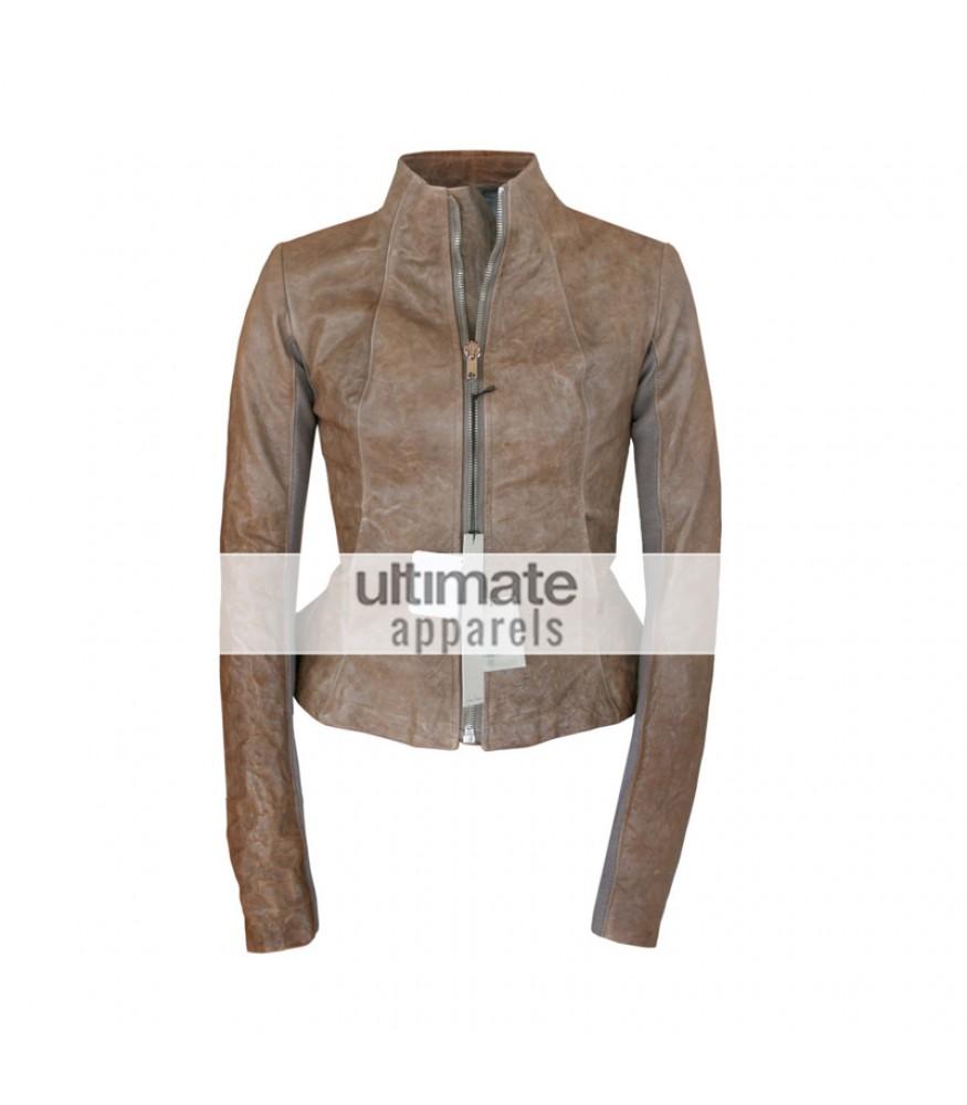 Rick Owens Style Women's Distressed Brown Motorcycle Jacket