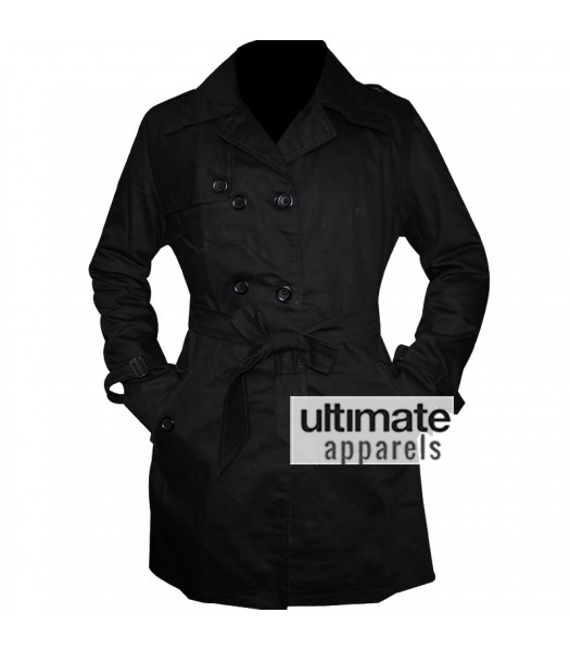 Women's Double Breasted Belted Mac Style Black Jacket
