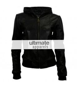 Women Hooded Black Leather Bomber Jacket