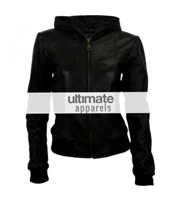 Women Hooded Black Leather Bomber Jacket