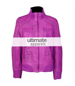 Women Pink Slim-Fit Hot Bomber Leather Motorcycle Jacket