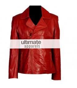 Women's Brando Style Slim-Fit Red Motorcycle Jacket