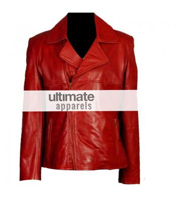 Women's Brando Style Slim-Fit Red Motorcycle Jacket