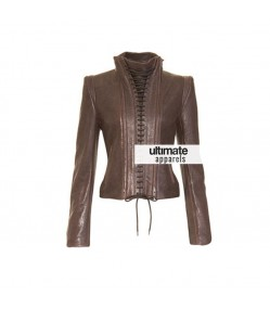 Women's Vintage Style Lace Up Brown Leather Jacket