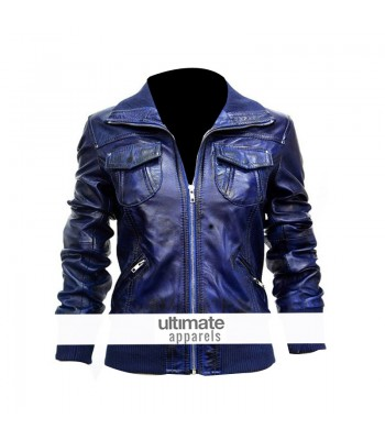 Women's Blue Bomber Leather Motorcycle Jacket